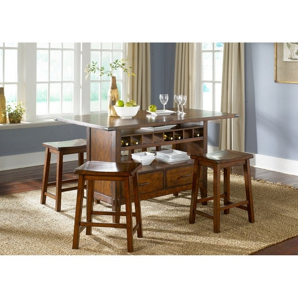 Cabin Fever Bistro Brown Finish Center Island Table On Free Shipping Today 17434455