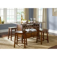 Cabin Fever Bistro Brown Finish Center Island Table