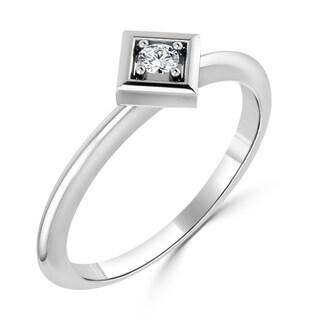 Auriya 10K Gold 0.06ct TDW Prong Round Diamond Geometric Solitaire Ring