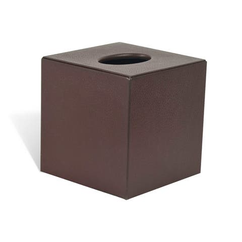 Genuine Leather Tissue Box Cover for Vanity Countertop, Chestnut, Shower and Bathroom Accessory