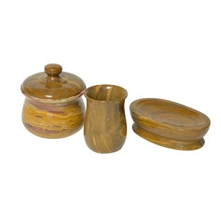 Polished Marble 3-Piece Bath Set, Amber, Shower and Bathroom Accessory