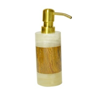 Polished Marble Soap/Lotion Dispenser, Green and Amber, Shower and Bathroom Accessory
