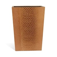 """Genuine Leather 11.5"""" x 8.75"""" Waste Basket, Golden Brown, Shower and Bathroom Accessory"""