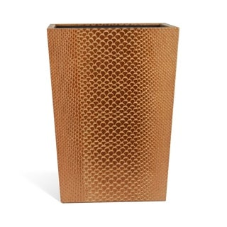 "Genuine Leather 11.5"" x 8.75"" Waste Basket, Golden Brown, Shower and Bathroom Accessory"