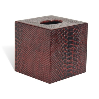 Genuine Leather Tissue Box Cover for Vanity Countertop, Red Mamba, Shower and Bathroom Accessory