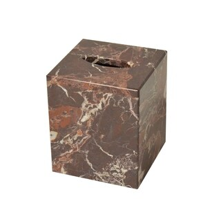 Polished Marble Tissue Box Cover, Red Zebra, Shower and Bathroom Accessory