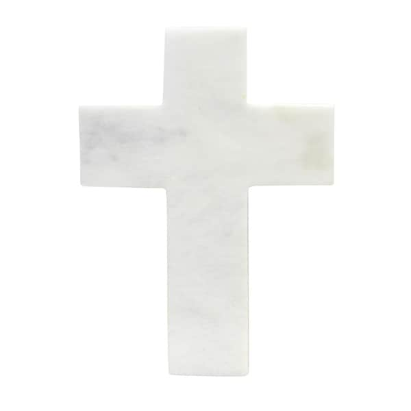 Polished Marble Decorative Cross Figurine, Traditional Style, White