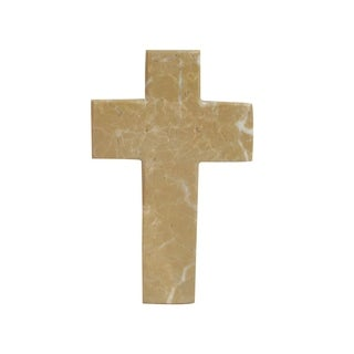 Polished Marble Decorative Cross Figurine, Traditional Style, Desert Sand