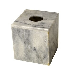 Polished Marble Tissue Box Cover, Cloud Gray, Shower and Bathroom Accessory