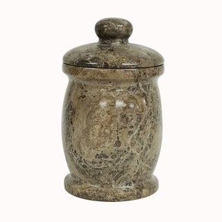 Polished Marble Jar, Taupe Gray, Shower and Bathroom Accessory