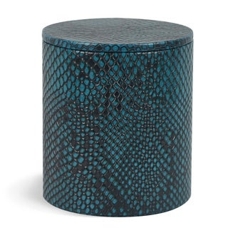 Genuine Leather Round Jar With Lid / Storage Canister, Teal Blue, Shower and Bathroom Accessory