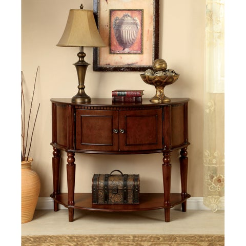 Furniture of America Clerean Traditional Brown Cherry Console Table