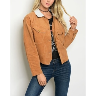 JED Women's Shearling Collar Corduroy Jacket