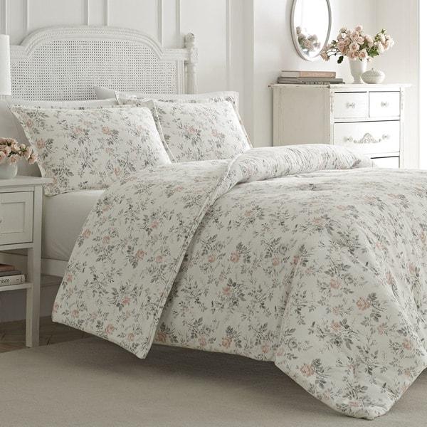 Laura Ashley Rosalie Pink Cotton Flannel Comforter Set