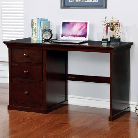 Bilen Traditional Dark Walnut 3-drawer Desk by FOA