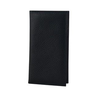 Genuine Leather Checkbook Holder with Pen and Card Holder and Money Slip, Black