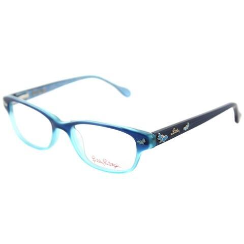 Lilly Pulitzer Rectangle Sandrine Girls AQ Children Aqua Frame Eyeglasses