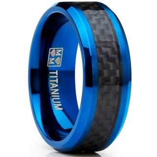 Oliveti Men's Blue Titanium Ring Carbon Fiber Inlay Comfort Fit 8mm
