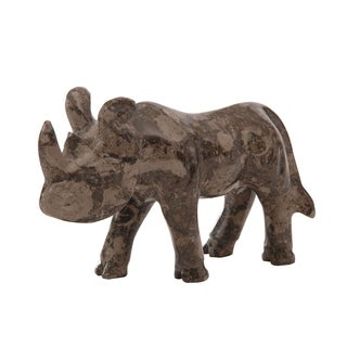 Polished Marble Rhino, Decorative Figurine / Collectible, Flannel Gray
