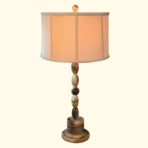 """31"""" Tall Onyx Table Lamp """"Adzic"""" with Linen Shade, Chartreuse"""