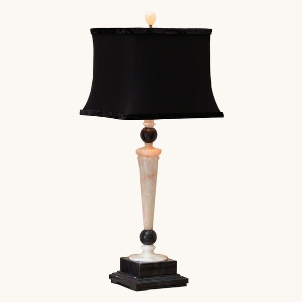 """32.5"""" Tall Marble Table Lamp """"Redux"""" with Linen Shade, Cream Onyx and Black"""