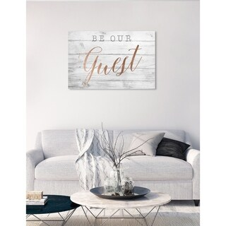 Oliver Gal 'Be Our Guest Copper' Typography and Quotes Wall Art Canvas Print - White, Pink