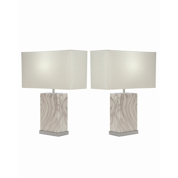 Studio 350 Set of 2, Ceramic White Silver Table Lamp 23 inches high