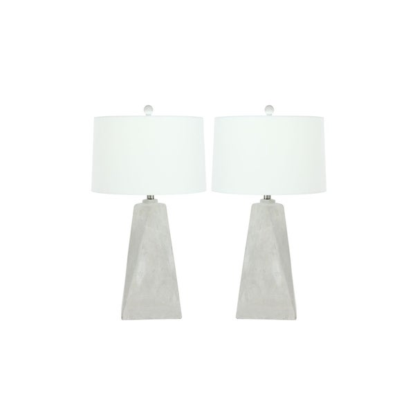 Studio 350 Set of 2, Cement Table Lamp 8 inches wide, 28 inches high