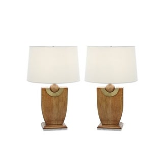 Studio 350 Set of 2, Wood Marble Table Lamp 24 inches high