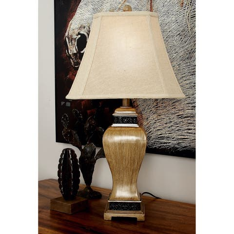 Set of 2 Traditional Oak Brown Table Lamps by Studio 350