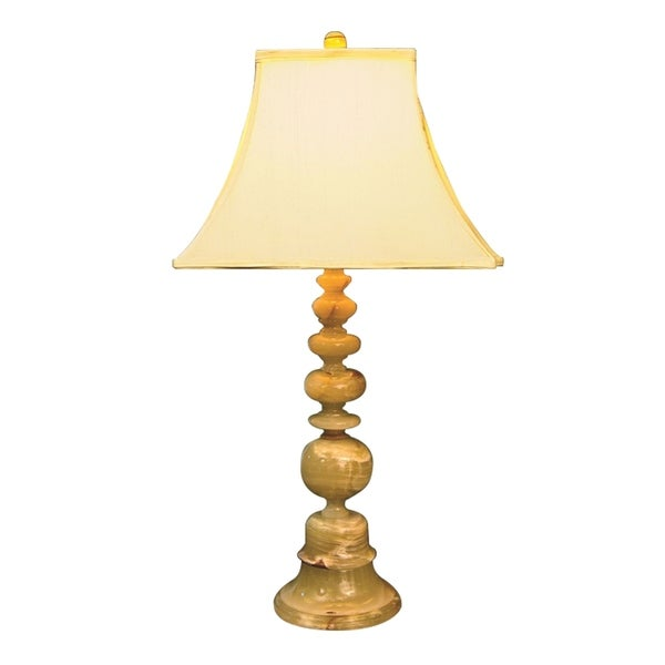 """31"""" Tall Marble Table Lamp """"Pandora"""" with Linen Shade, Beige"""