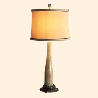 """32"""" Tall Marble Table Lamp """"Artica"""" with Linen Shade, Fossil"""