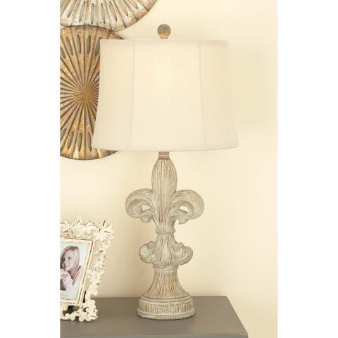 Set of 2 Rustic 28 Inch White Fleur-De-Lis Table Lamps by Studio 350