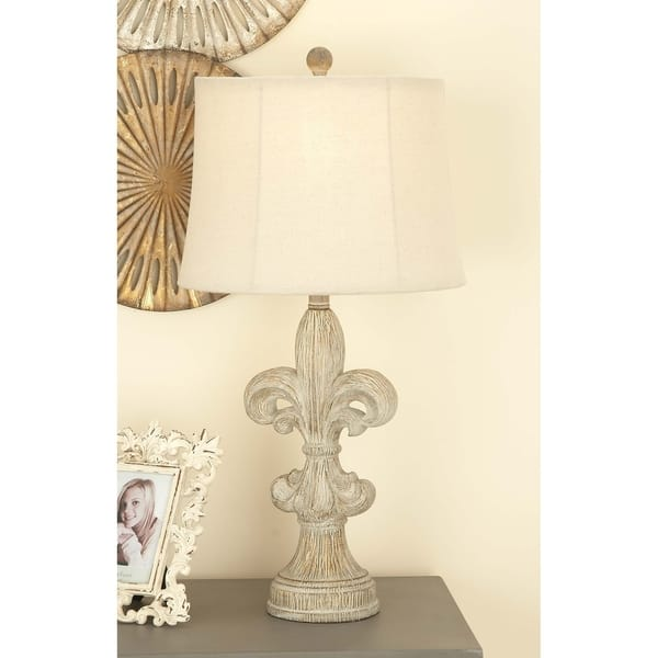 Shop Set Of 2 Rustic 28 Inch White Fleur De Lis Table Lamps