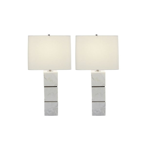 Studio 350 Set of 2, Marble Metal Table Lamp 27 inches high