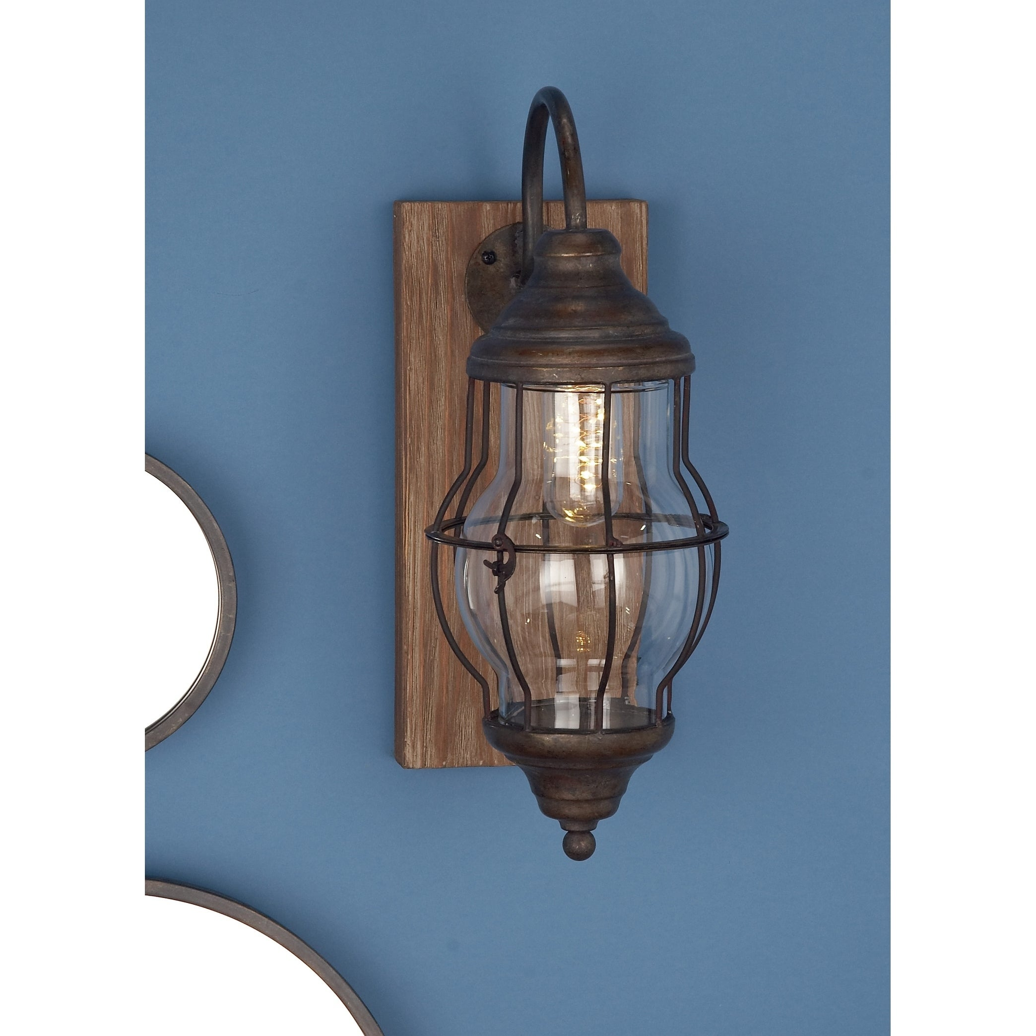 Image of: Shop Black Friday Deals On Farmhouse Brown Rectangular Battery Operated Led Wall Sconce By Studio 350 Overstock 17435782