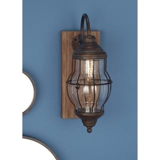 Link to Farmhouse Brown Rectangular Battery Operated LED Wall Sconce by Studio 350 Similar Items in Sconces