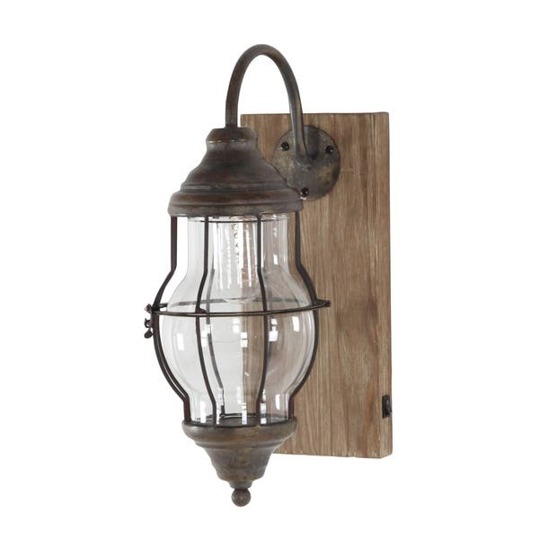 Farmhouse Brown Rectangular Battery Operated Led Wall Sconce By Studio 350 On Sale Overstock 17435782