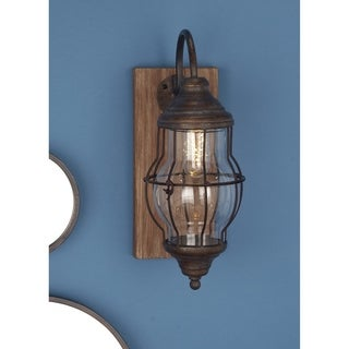 Farmhouse 17 x 5 Inch Brown Rectangular LED Wall Sconce by Studio 350