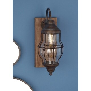 Studio 350 Wood Metal Gl LED Wall Sconce 5 inches wide, 17 inches high