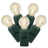 "Set of 100 Warm White LED G12 Berry Christmas Lights 4"" Spacing - Green Wire"