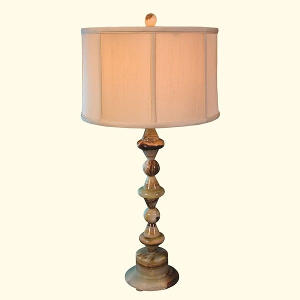 """31.75"""" Tall Onyx Table Lamp """"Tethys"""" with Linen Shade, Chartreuse"""