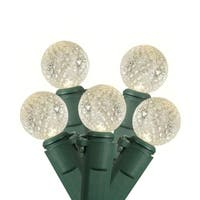 "Set of 35 Warm Clear Commercial Grade LED G12 Berry Christmas Lights 6"" Spacing - Green Wire"