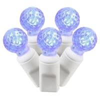 "Set of 50 Blue Commercial Grade LED G12 Berry Christmas Lights 6"" Spacing - White Wire"
