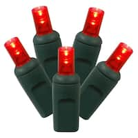 Set of 50 Red Commercial Grade LED Wide Angle Mini Christmas Lights - Green Wire