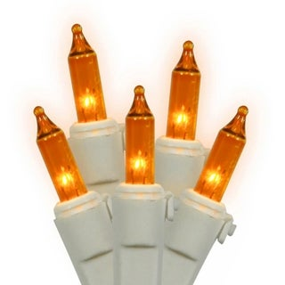 Set of 150 Heavy-Duty Amber Mini Christmas Lights - White Wire Connect 6