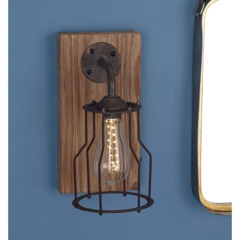 Studio 350 Wood Metal Gl LED Wall Sconce 6 inches wide, 11 inches high