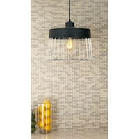 Contemporary 11 Inch Iron Cage-Type Pendant with Bulb by Studio 350