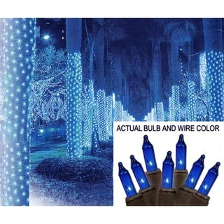 2' x 8' Blue Mini Christmas Net Style Tree Trunk Wrap Lights - Brown Wire