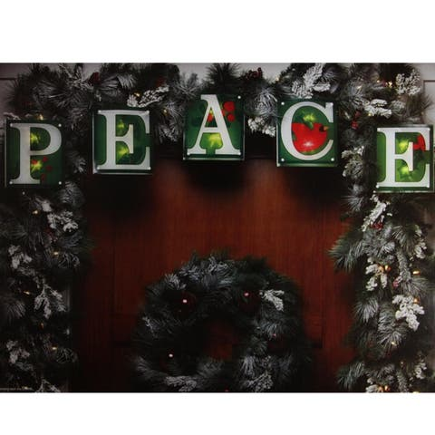 """7' Green Shimmering """"PEACE"""" Christmas Light Garland with 10 Clear Mini Lights - White Wire"""